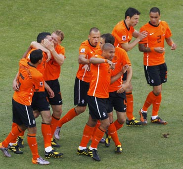 The Netherlands team celebrate after a goal