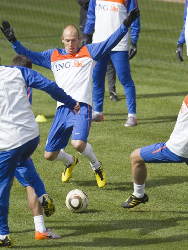 Arjen Robben during a practice session