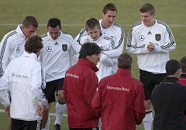 Germany team during a practice session with Joachaim Loew