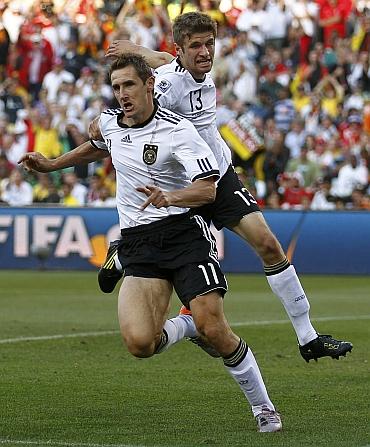 Miroslav Klose and Tomas Mueller