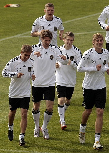 Germany team during a warm-up session