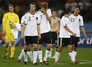 Germany players disappointed after their loss to Spain