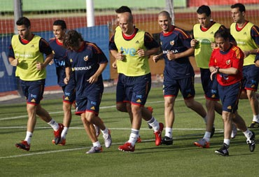 The Spain team during a practice session