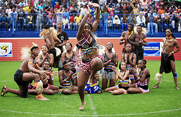 Traditional dancers perform during the opening of the Football for Hope festival 2010 in Alexandra, near Johannesburg