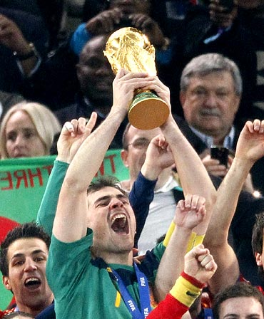 Spain captain Iker Casillas lifts the World Cup trophy