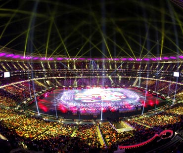 A view of the Soccer City stadium during the closing ceremony