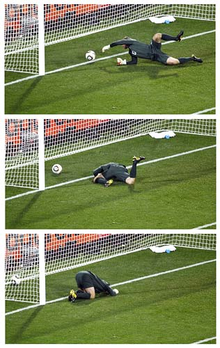 A combination of pictures showing Robert Green's blunder against USA