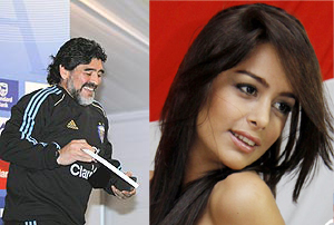 A combination of pictures showing Maradona and Riquelme