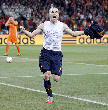 Andres Iniesta celebrates after scoring the World Cup winning goal