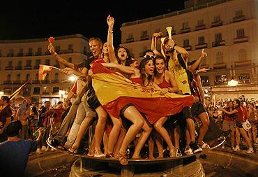 Spain fans celebrate in Madrid