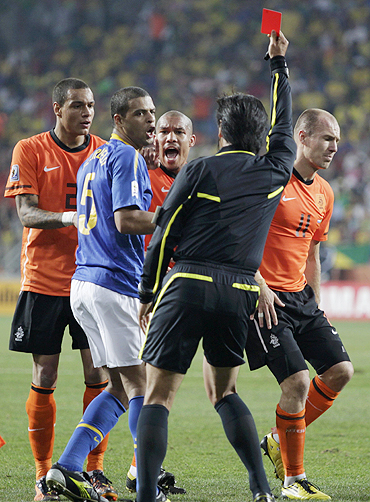 Felipe Melo shown the red card during the match against The Netherlands