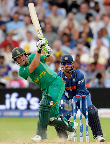 AB de Villiers in action in a T20 match against India