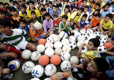 Young Kashmiri boys during a training camp in Srinagar