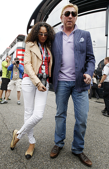 Boris Becker (right) and his wife Lilly pose before the race on Sunday