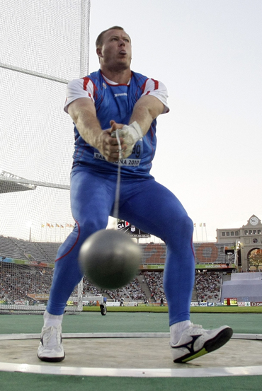 Libor Charfreitag from Slovakia competes in the men's hammer throw final during the European Athletics Championships