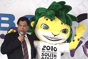 Daany Jordaan, chief of the organising committee of the 2010 FIFA World Cup, with the official mascot Zakumi