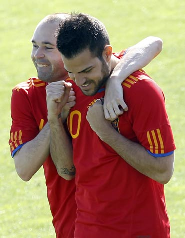 Cesc Fabregas alongwith Andres Iniesta