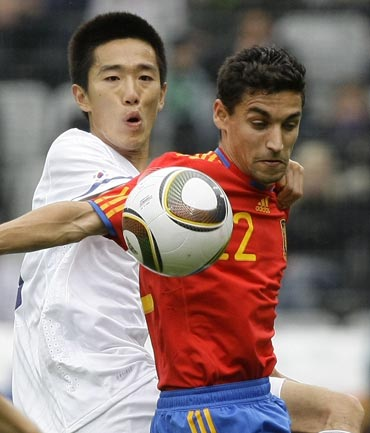 Spain's Jesus Navas in action against South Korea