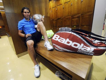 Rafa Nadal in dressing room after the match