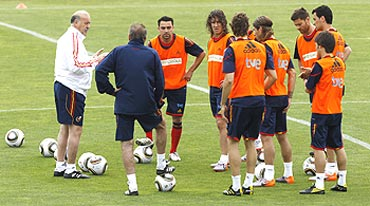 The Spanish team at a practice session