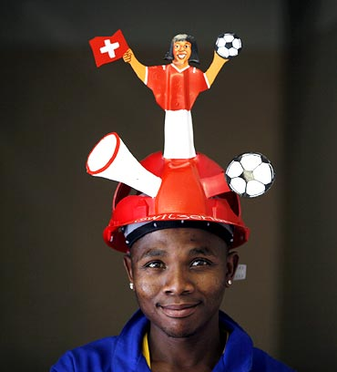 The Switzerland soccer team fan helmet