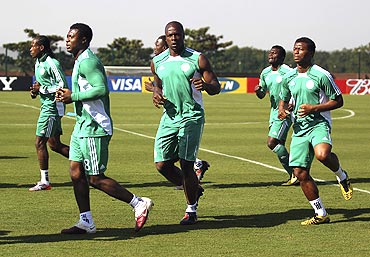 The Nigerian football team at a training session