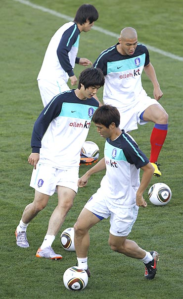 South Korean players at a training session