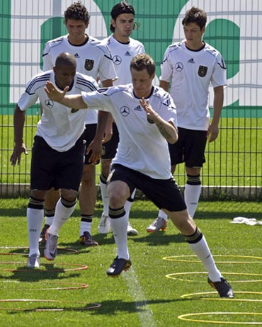 German national team during a warm-up session