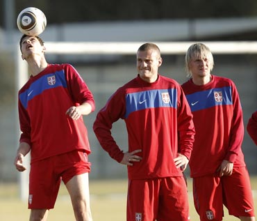 Serbian players during a practice session