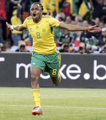 South Africa's Siphiwe Tshabalala celebrates after scoring against Mexico