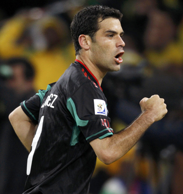 Mexico's Rafael Marquez celebrates after scoring against South Africa during the 2010 World Cup opening match at Soccer City