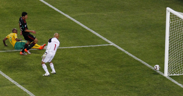 South Africa's Mphela hits the goal post as he attempts to score against Mexico during the 2010 World Cup