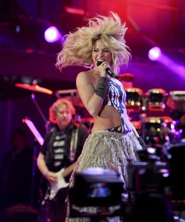 Shakira performs during the opening concert for the 2010 World Cup at the Orlando Stadium in Soweto