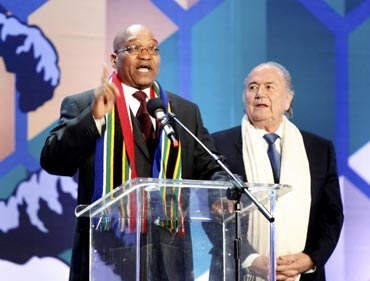 South Africa's President Jacob Zuma speaks during the opening concert for the 2010 World Cup