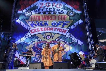 Amadou and Mariam perform during the opening concert for the 2010 World Cup