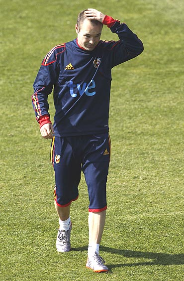 Andres Iniesta at a training session in Potchefstroom