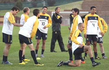 The Australian team during a training session