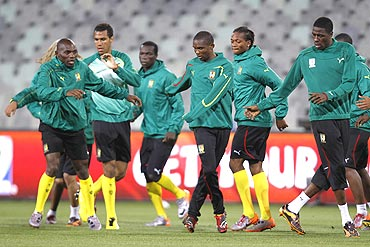 Cameroon's players go through the grind during a training session