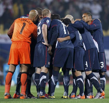 USA team in a huddle