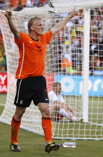Netherlands' Dirk Kuyt celebrates scoring against Denmark
