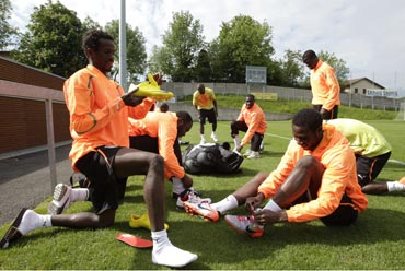Ivory Coast players during a practice session