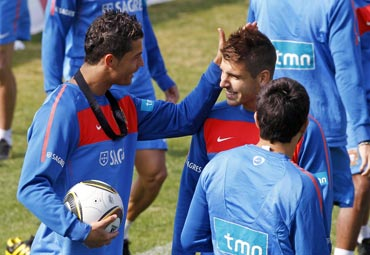 Cristiano Ronaldo with team-mates during a practice session