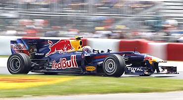 Red Bull's Mark Webber in action during the Canadian Grand Prix