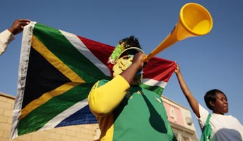 A fan with a vuvuzela