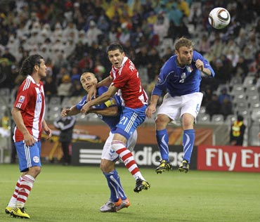Paraguay's Antolin Alcaraz scored the first goal