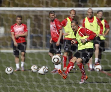 Switzerland's Goekhan Inler during a training session