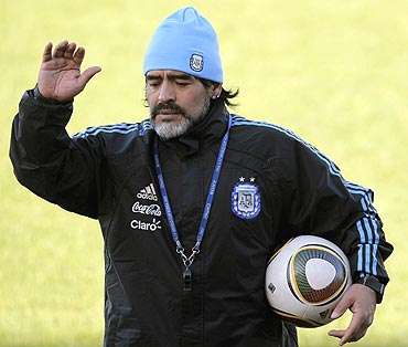 Argentina's coach Diego Maradona at a traning session