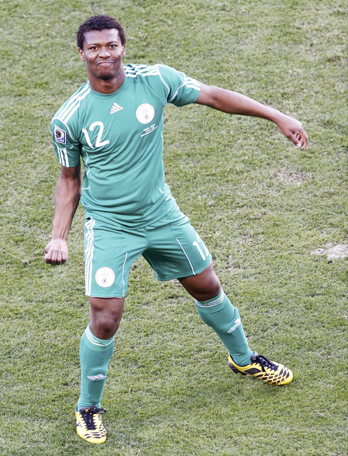 Nigeria's Kalu Uche celebrates after scoring a goal during a 2010 World Cup Group B soccer match against Greece at Free State stadium in Bloemfontein