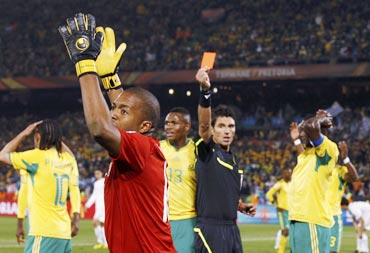 Referee shows a red card to South Africa keeper Itumeleng Khune