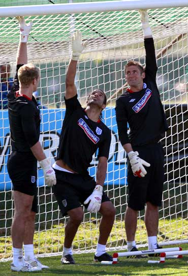 England's goalkeepers Joe Hart (left), David James (centre) and Robert Green during a training session